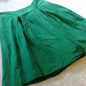 Banana Republic Emerald Silk Blend Full Midi Skirt